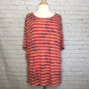 Lularoe Womens Irma Tunic Red Stripes Small